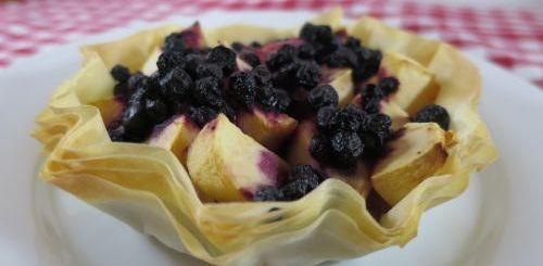Tartelettes pommes et myrtilles sur pâte filo