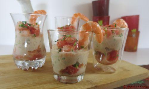 Verrines crabe et crevettes