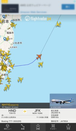 特定の飛行機の経路も分かる