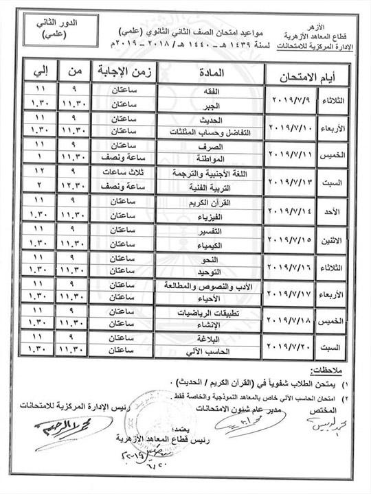 جدول امتحانات الدور الثاني للصف الثاني الثانوي الأزهري علمي
