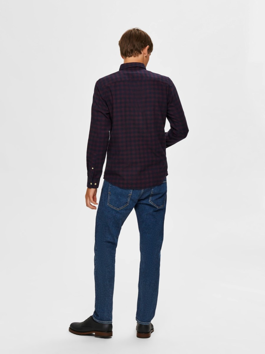 Selected Skjorte - Slhslimflannel shirt port royal/big check | Gate36 Hobro