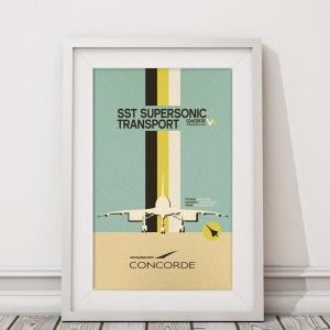 Concorde Retro Style Airliner Poster – 11 x 17