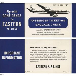 Eastern Air Lines Ticket Circa 1960s