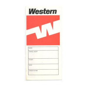 Western Airlines Boarding Pass Jacket Envelope