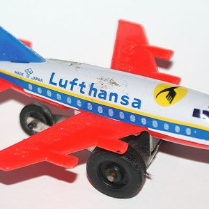 Lufthansa Douglas DC-8 Made in Japan Tin Toy