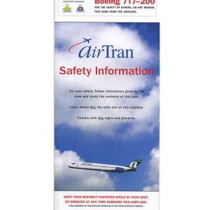 AirTran Airways Boeing 717 Aircraft Emergency Safety Card 05/08