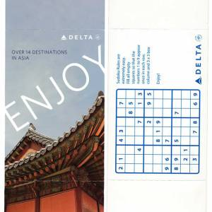 Delta Airlines Sudoku Paper Game Board 2012