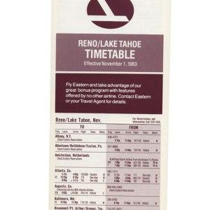 Eastern Air Lines Timetable Reno/Lake Tahoe 1983