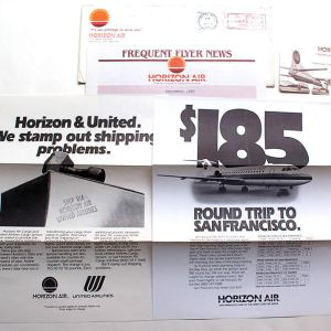 Horizon Air Frequent Flyer News Letter, Envelope & Rolodex 1985