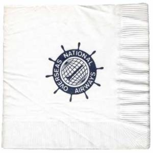 ONA Overseas National Airlines Paper Napkin