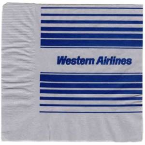 Western Airlines Silver/Blue Paper Napkin