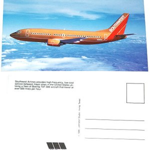 Southwest Airlines Postcard / 737-300 Old Colors