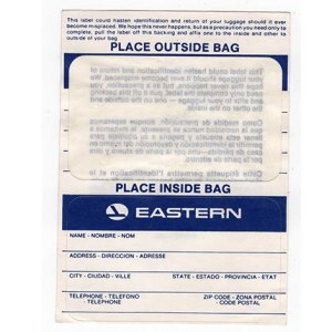 Eastern Airlines Luggage Tag STICKER