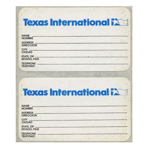 Texas International Airlines Luggage Tag STICKER