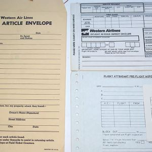 Western Airlines Forms and Envelope Collection