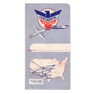 Classic Continental Airlines Boarding Ticket Envelope