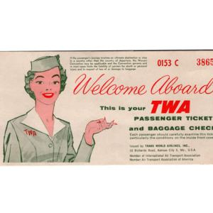 TWA Airlines Ticket 1958