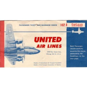 United Air Lines Ticket & Envelope 1952