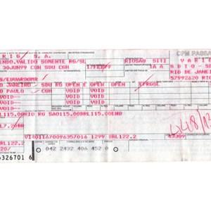 VARIG Brasil Airlines Ticket 1990s