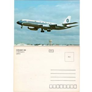Varig Airlines Convair 990 Postcard