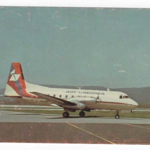 Air Virginia Hawker Siddeley HS-748 Postcard (B)