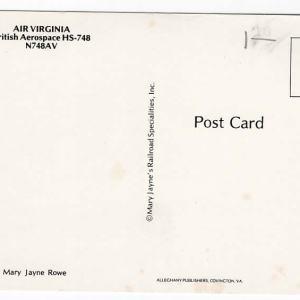 Air Virginia Hawker Siddeley HS-748 Postcard (A)