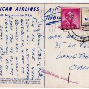 American Airlines Astrojet Boeing 707 Postcard