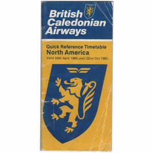 BCAL British Caledonian Airways Timetable Oct 1983