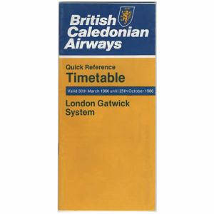 BCAL British Caledonian Airways Timetable Oct 1986