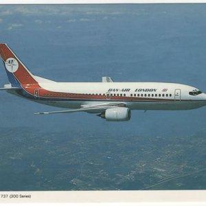 Dan-Air London Boeing 737-300 Postcard
