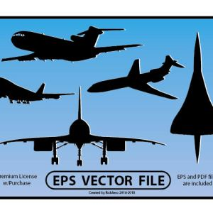 Airline Jet Silhouette and Concorde Vector File (V1)