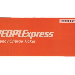 Peoplexpress Airlines Passenger Ticket