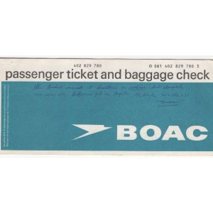 BOAC Airlines Passenger Charter Ticket (Used)