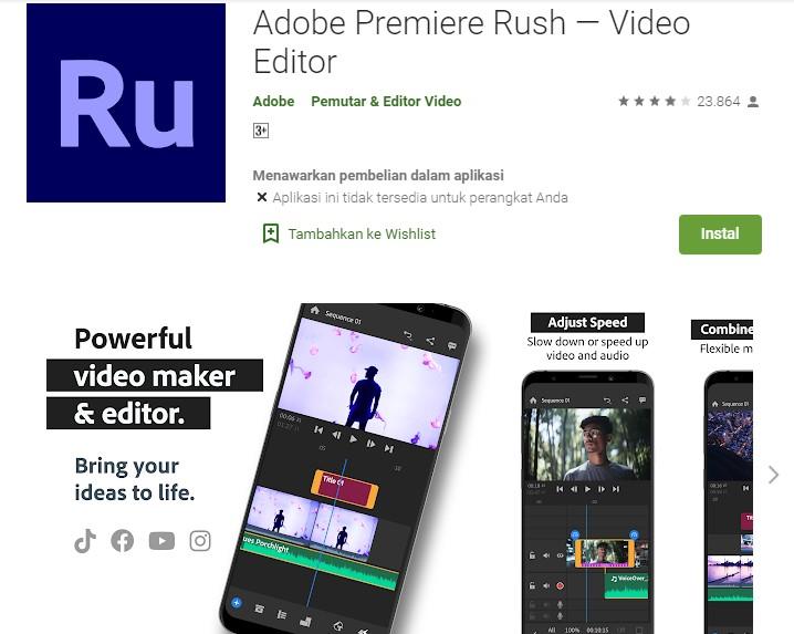 aplikasi pemotong video Adobe Premiere Rush