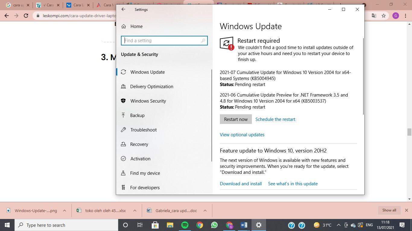 klik windows update