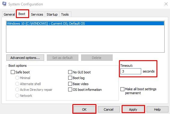 Windows Boot Manager Pengaturan Msconfig