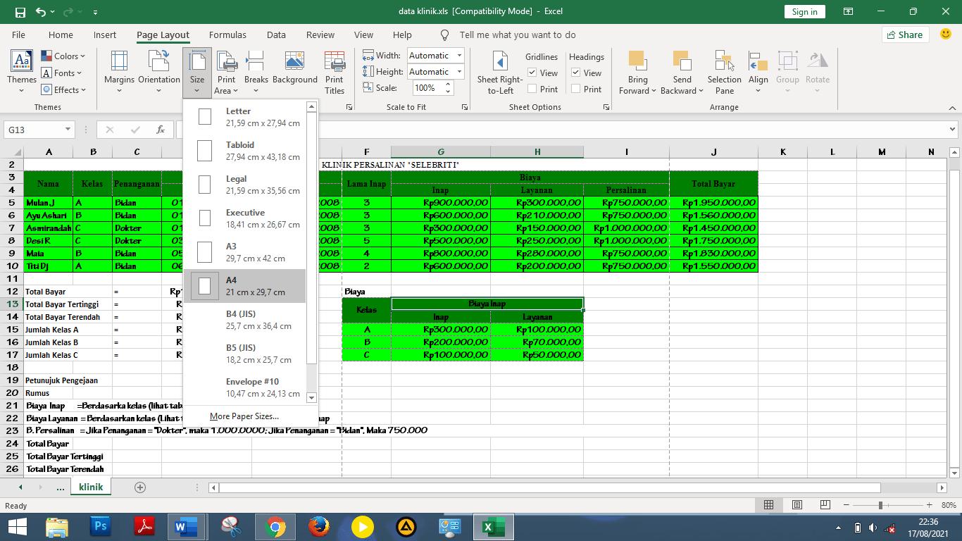 klik menu size