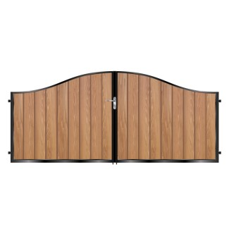 Short Metal Framed Timber Driveway Gates