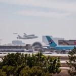 Space Shuttle Endeavour flies over LAX