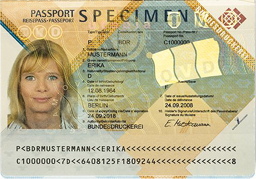 Sample of the passport ID page.