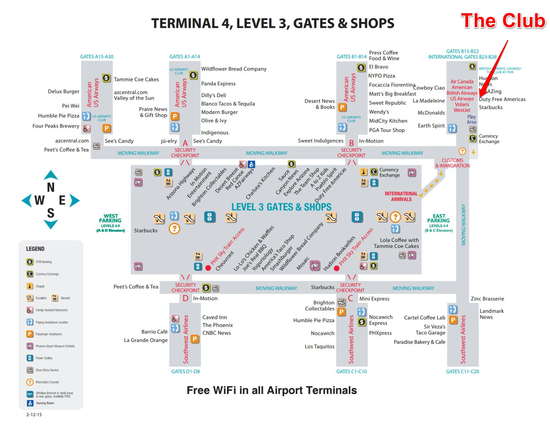 terminal  map. lounge review the club at phx  sky harbor  gate to adventures