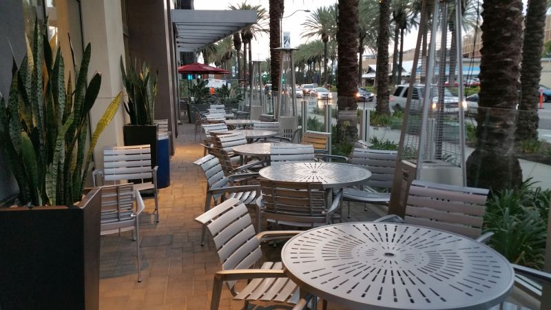 Outdoor seating near the breakfast area
