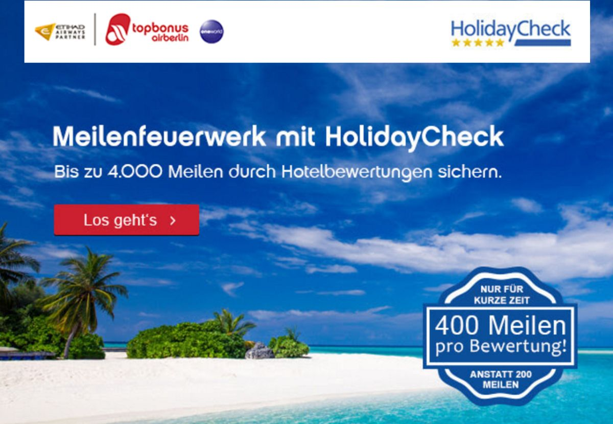 Earn up to 4000 Airberlin Topbonus Award Miles for Hotel Reviews