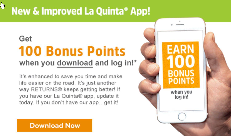 LaQuinta: Get 100 Free and Easy Bonus Points