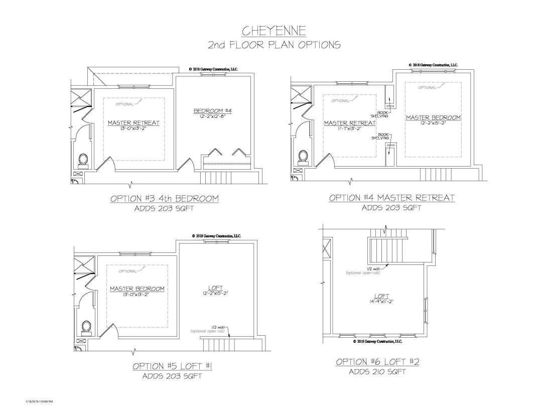Cheyenne GL 2nd Floor Plan Options