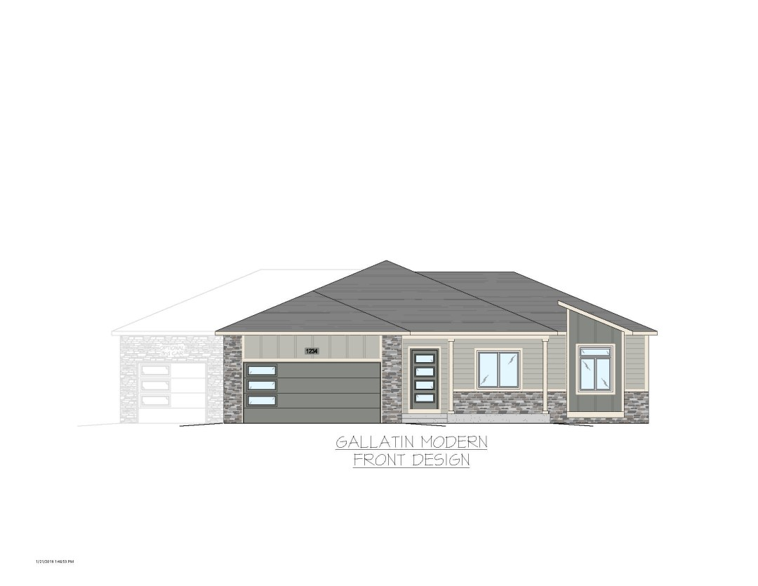 Gallatin GL Exterior Modern- Colored No Trees Colored