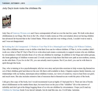 Full page review by Sue Lick, Childless by Marriage