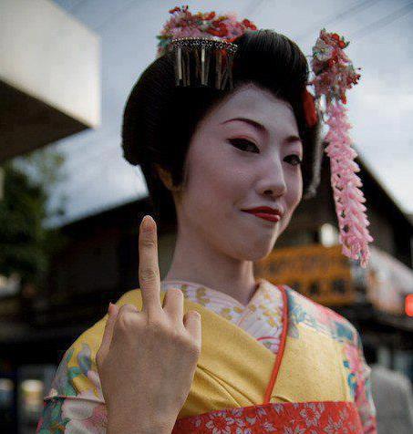 Geisha gives the finger