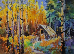"""""""Cabins"""" by Gregg Johnson depicts life during the fur trade"""