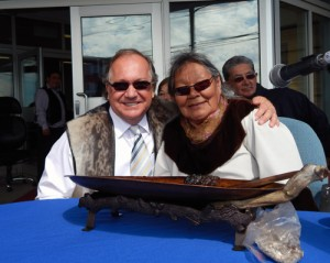AANDC Minister Bernard Valcourt poses with Inuit Elder Alicee Joamie at Nunavut Day (2013)